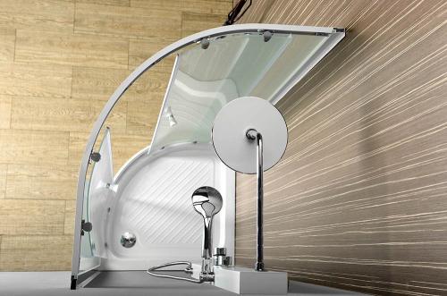 Aqualine ARLEN čtvrtkruhová sprchová zástěna 800x800 mm, sklo BRICK BTR800