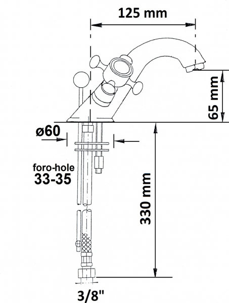 Reitano Rubinetteria ANTEA stojánková umyvadlová baterie s výpustí, chrom 3171