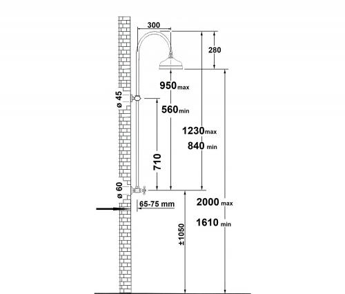 Reitano Rubinetteria ANTEA sprchový sloup k napojení na baterii, hlavová sprcha, zlato SET015