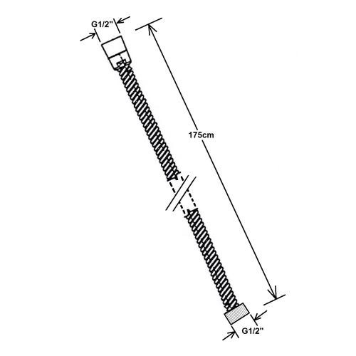 Reitano Rubinetteria Kovová sprchová hadice, opletená, 175 cm, nikl FLE10NK