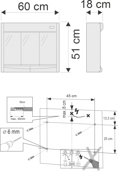 Aqualine SAPHIR galerka 60x51x18cm, zářivka T8, 1x15W, G13, bílá plast 591322
