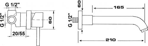 Sapho RHAPSODY podomítková dvouprvková umyvadlová baterie, chrom 5552