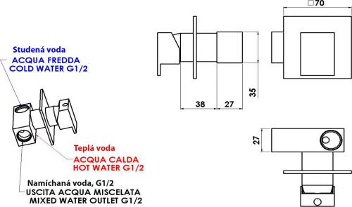 Sapho LATUS podomítková baterie pro bidetové spršky, 1 výstup, chrom 1102-40