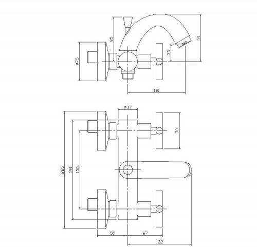 Aqualine XENIA nástěnná vanová kohoutková baterie, chrom 1109-10
