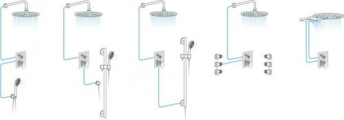 Aqualine LOTTA podomítková sprchová baterie, 2 výstupy, chrom LT742