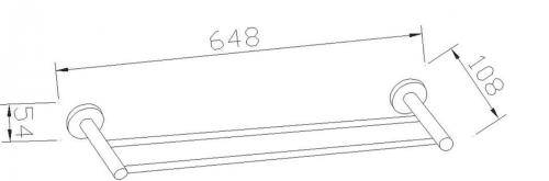 Aqualine SAMBA dvojitý držák ručníků, 600mm, chrom SB111