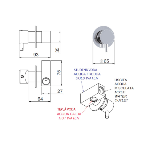 Sapho RHAPSODY podomítková baterie pro bidetové spršky, 1 výstup, chrom 5540