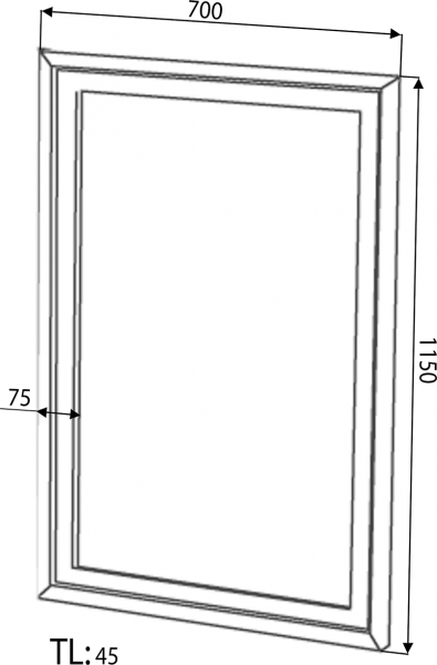 Sapho RETRO zrcadlo 70x115cm, starobílá 1686
