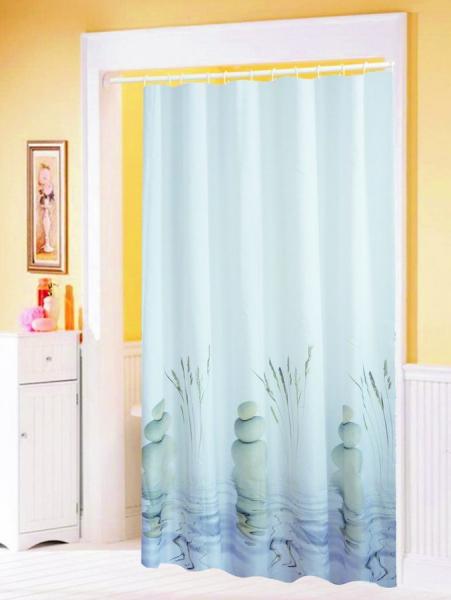 Aqualine Závěs 180x200cm, 100% polyester, kameny ve vodě 23032