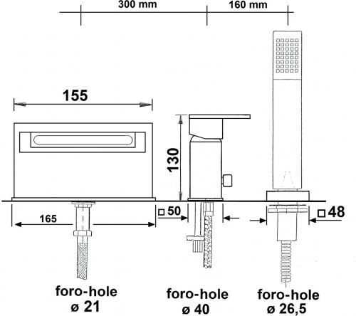 Reitano Rubinetteria TRIUMPH tříprvková baterie na okraj vany, kaskáda, chrom 3931