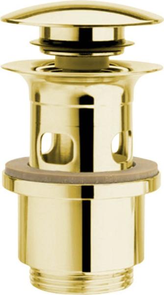 Silfra Uzavíratelná kulatá výpust pro umyvadla s přepadem Click Clack, V 40-64mm, zlato UD39952