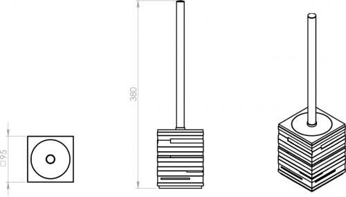 Gedy QUADROTTO WC štětka na postavení, černá QU3314