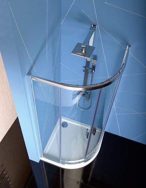 Polysan EASY LINE čtvrtkruhová sprchová zástěna 800x800mm, L/R, čiré sklo EL2515