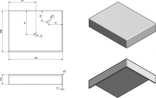 Sapho TAILOR rockstone deska 70x50 cm, provedení límce R TR070R