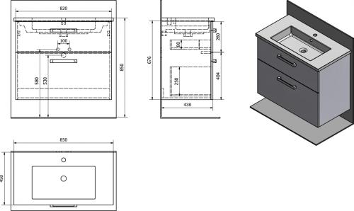 Aqualine VEGA umyvadlová skříňka 82x67, 6x43, 8 cm, 2xzásuvka, dub platin VG883