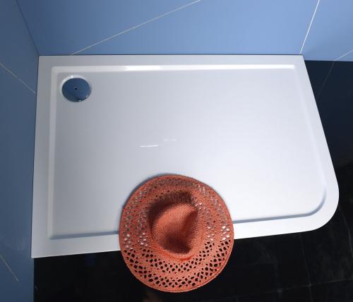 Polysan STYX L sprchová vanička z litého mramoru, obdélník 120x80x4cm, levá, bílá 66611