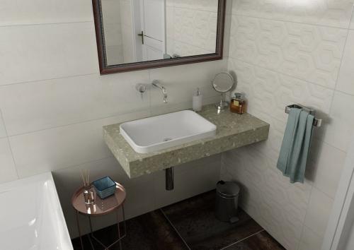 Sapho TAILOR rockstone deska 210x50 cm, provedení límce L TR210L