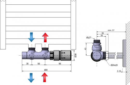 Sapho TWIN připojovací sada ventilů termostatická pro střed. připojení, pravé, broušen CP3520