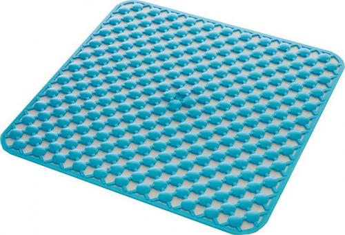 Aqualine GEO podložka do sprchového koutu 53x53cm s protiskluzem, kaučuk, modrá 97535311