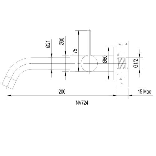 Sapho TORI nástěnný ventil, 1/2', chrom NV724
