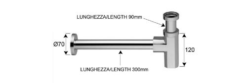 Sapho SPY umyvadlový sifon 1'1/4, odpad 32 mm, chrom PY36