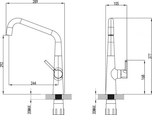 Sapho TERESA stojánková dřezová baterie, chrom 1105-68
