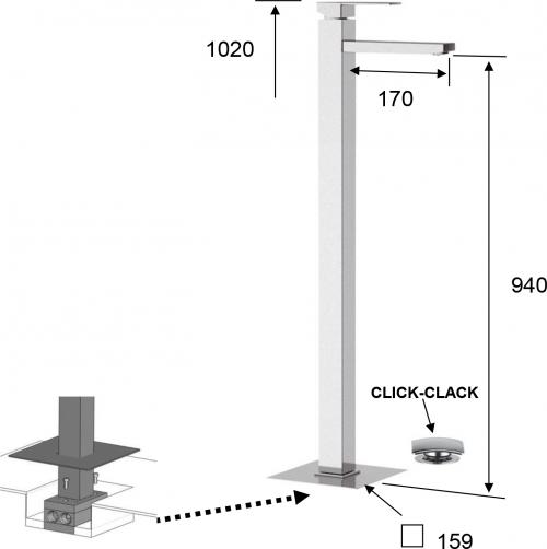 Sapho LATUS umyvadlová baterie na připojení do prostoru, chrom 1102-16