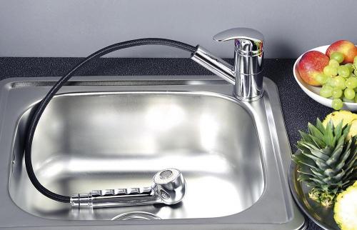 Aqualine KASIOPEA stojánková dřezová baterie s výsuvnou sprškou, chrom 1107-70
