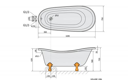 Polysan RETRO volně stojící vana 169x75x72cm, nohy chrom mat, černá/bílá 72967