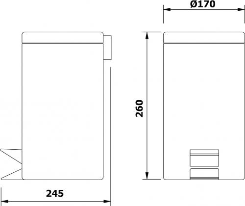 Aqualine SIMPLE LINE odpadkový koš kulatý 3l, leštěný nerez 27103